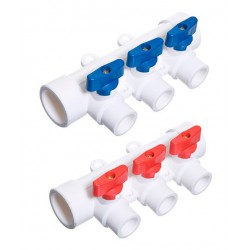 Коллектор полипропиленовый 32 х 20 х 3 выхода с шаровыми кранами универсальный TEBO 030091262