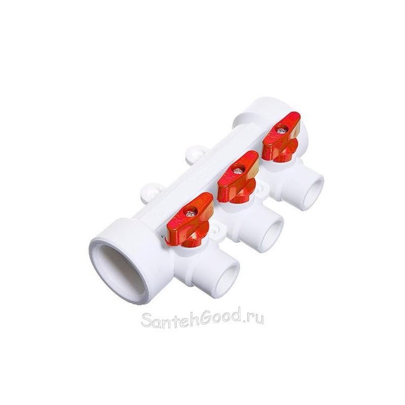 Коллектор полипропиленовый PP-R 40 х 20 х 3 выхода с кранами красный TEBO 015091203