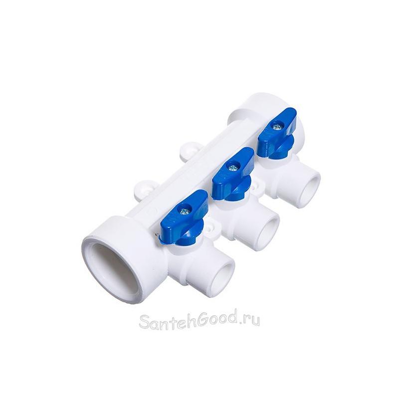 Полипропиленовый коллектор 40 х 20 х 3 выхода с шаровыми кранами синий TEBO 015091204