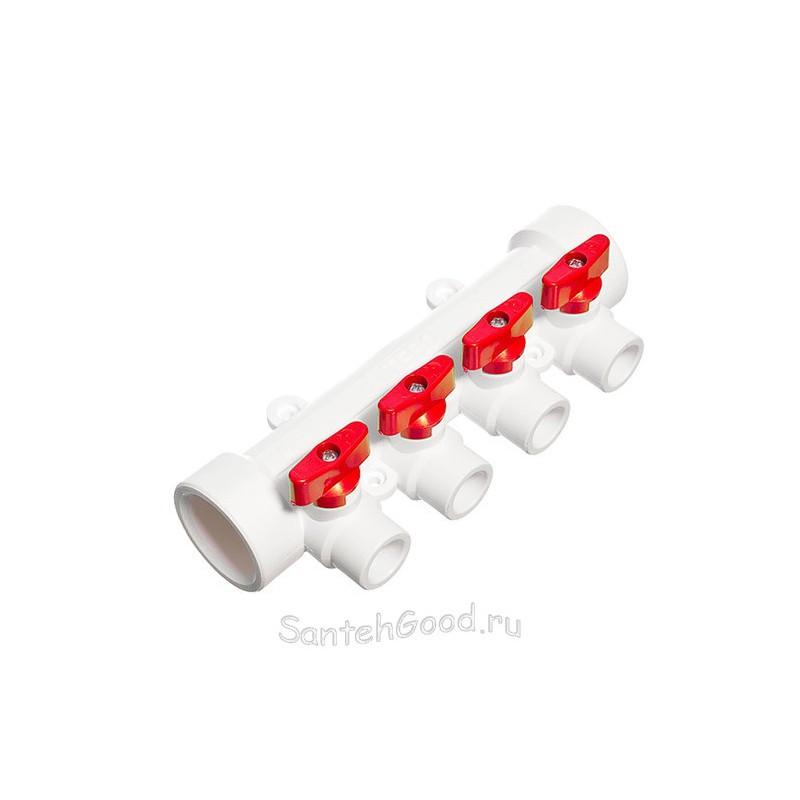 Коллектор PPR 40 х 20 х 4 выхода с шаровыми кранами красный TEBO 015091205