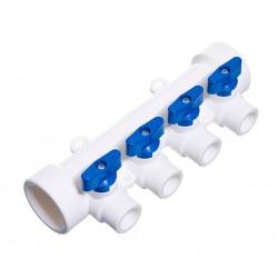 Коллектор из полипропилена 40 х 20 х 4 выхода с шаровыми кранами синий TEBO 015091206