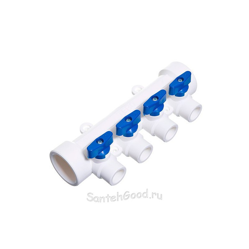 Коллектор полипропиленовый 40х20х4 выхода синий TEBO