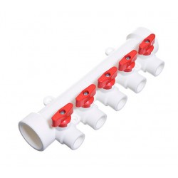 Коллектор полипропиленовый 40 х 20 х 5 выходов с шаровыми кранами красный TEBO 015091207