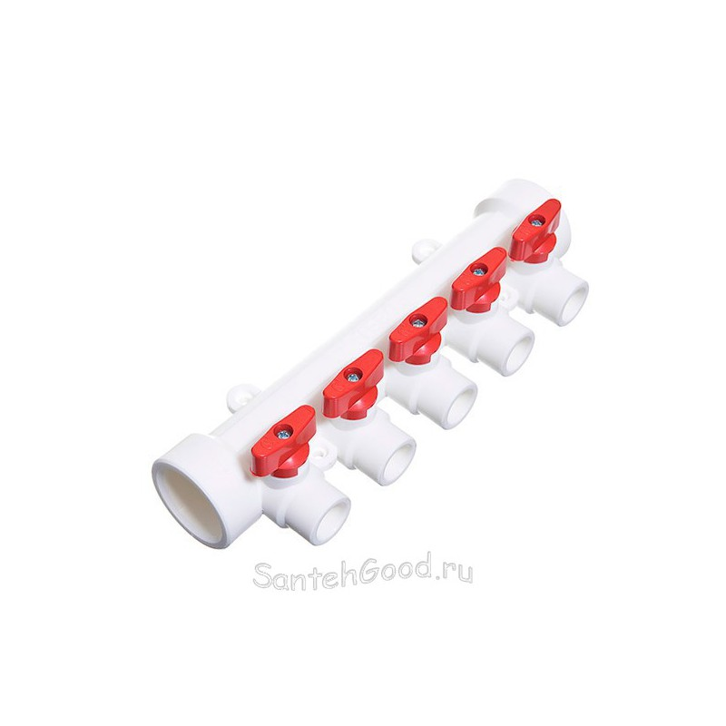Коллектор полипропиленовый 40х20х5 выходов красный TEBO