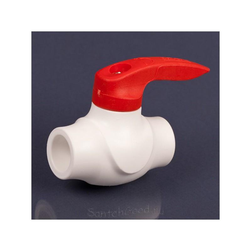 Шаровой кран полипропилен PP-R красный (для горячей воды) d-40 мм DIZAYN 34832