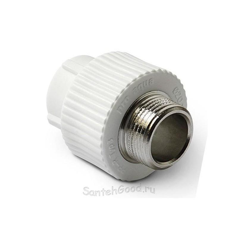 Комбинированная муфта полипропиленовая с наружной резьбой 25-3/4″ Pro Aqua PA23014P