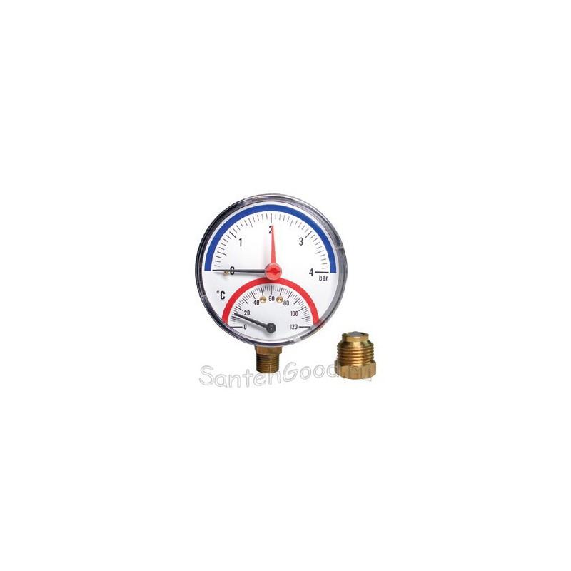Термоманометр вертикальный 1/2- (4бар) Watts