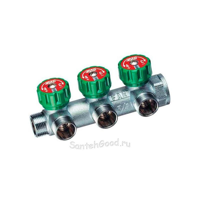 Коллектор регулирующий водяной проходной 1″ ВР-НР на 3 отвода 1/2″ НР FAR