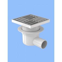Трап канализационный горизонтальный, регулируемый с выпуском 50 мм, с нержавеющей решеткой 15*15см ТА 5612