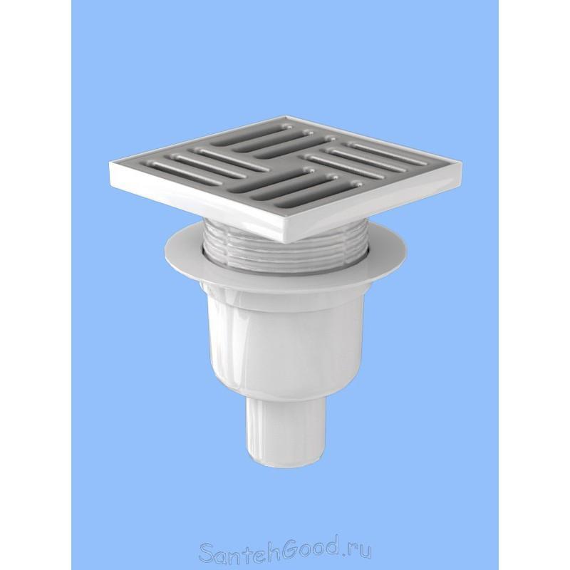 Трап канализационный вертикальный, регулируемый с выпуском 50 мм, с нержавеющей решеткой 15*15см ТА 5712