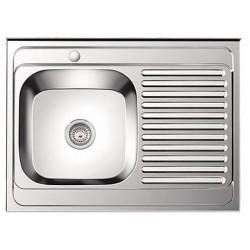 Кухонная мойка из нержавеющей стали 60х80 (накладная левая)