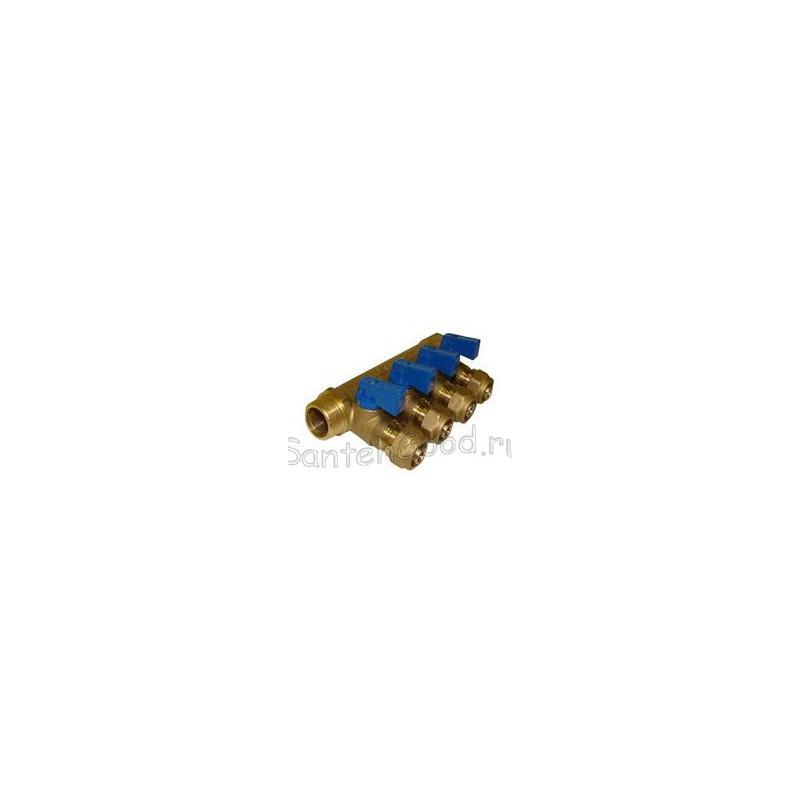 Коллектор для отопления 1″ х 20 х 4 выхода с цангами (синий) TIM