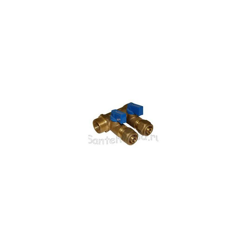 Коллектор регулирующий для воды 3/4″ х 16 х 2 выхода с кранами (синий) TIM