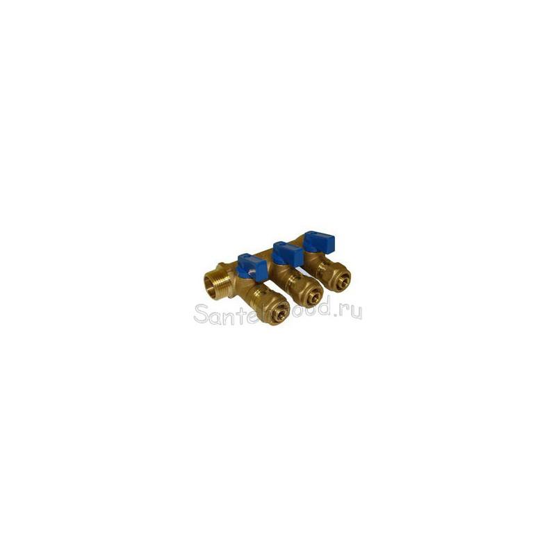 Коллектор водяной 3/4″ х 16 х 3 выхода с кранами (синий) TIM