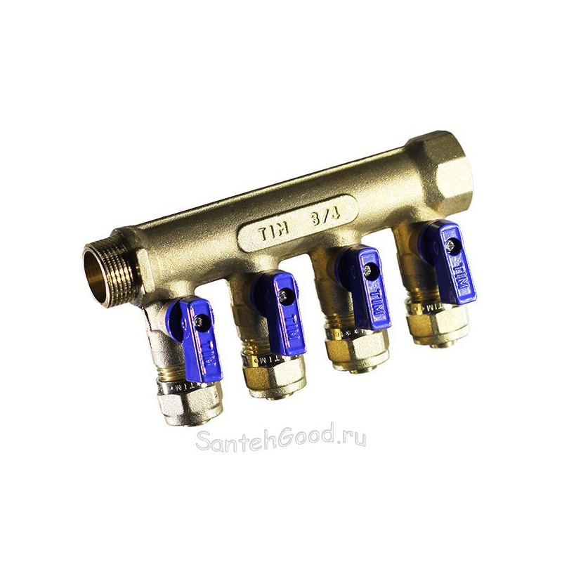 Коллектор для теплого пола 3/4″ х 16 х 4 выхода с кранами и цангами (синий) TIM
