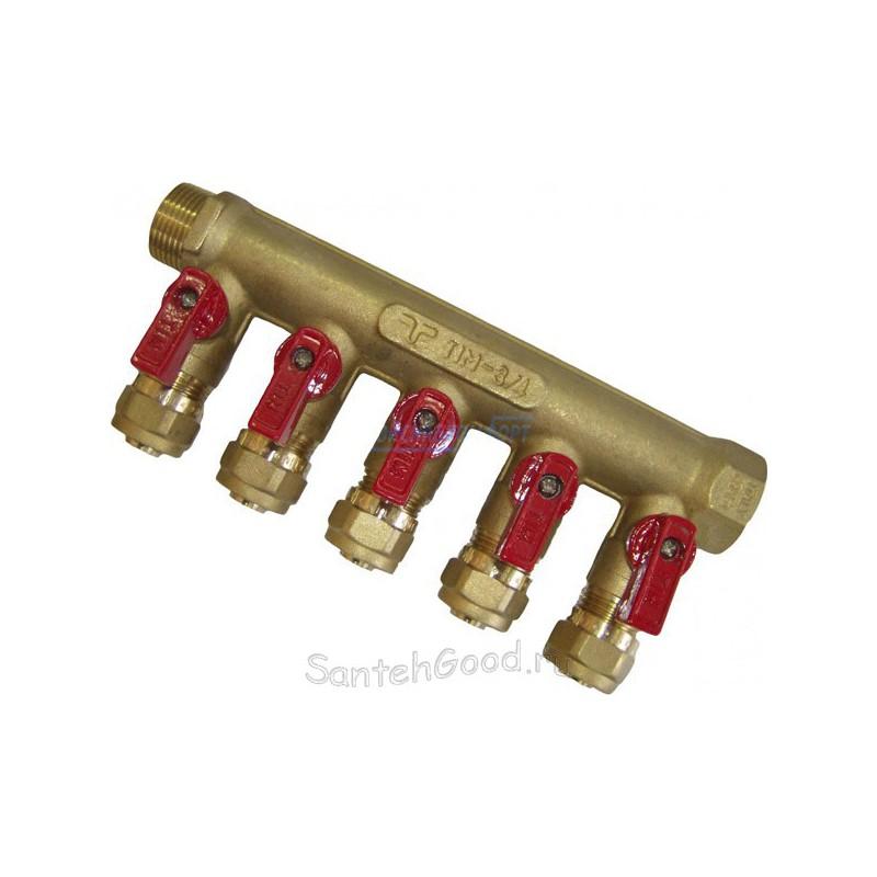Коллектор для отопления 3/4″ х 16 х 5 выходов с кранами и цангами (красный) TIM