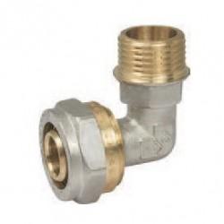 Уголок для металлопластиковых труб 20х1/2″ наружная резьба PROFACTOR