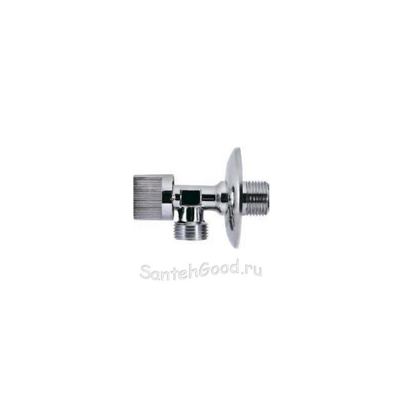 Кран шаровой угловой 1/2″ х 3/4″ с металлической ручкой и отражателем хром PROFACTOR