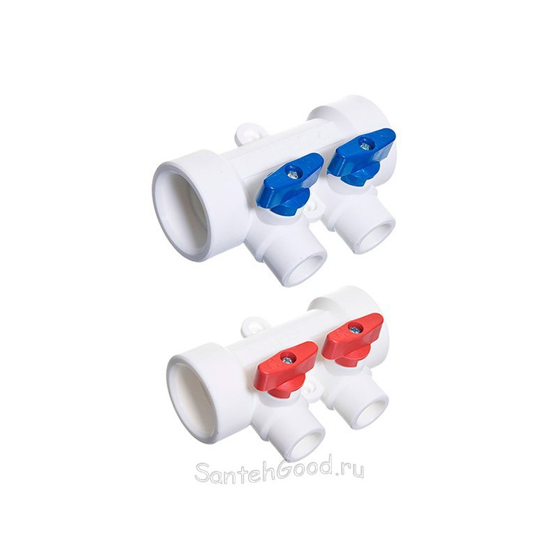 Полипропиленовый коллектор 25 х 20 х 2 выхода с шаровыми кранами универсальный TEBO 030091251
