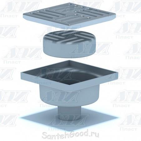 Трап канализационный вертикальный нерегулируемый, с выпуском 50 мм, с нержавеющей решеткой 15х15 (сухой) TQ5212