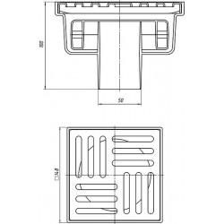 Трап канализационный вертикальный нерегулируемый, с выпуском 50 мм, с нержавеющей решеткой 15х15 (сухой) TQ5212-1