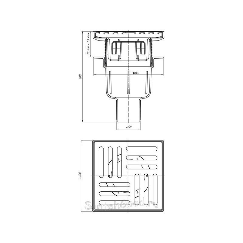 Трап вертикальный регулируемый, с выпуском 50 мм, металлическая решетка 15х15 см (сухой) TQ5712-1