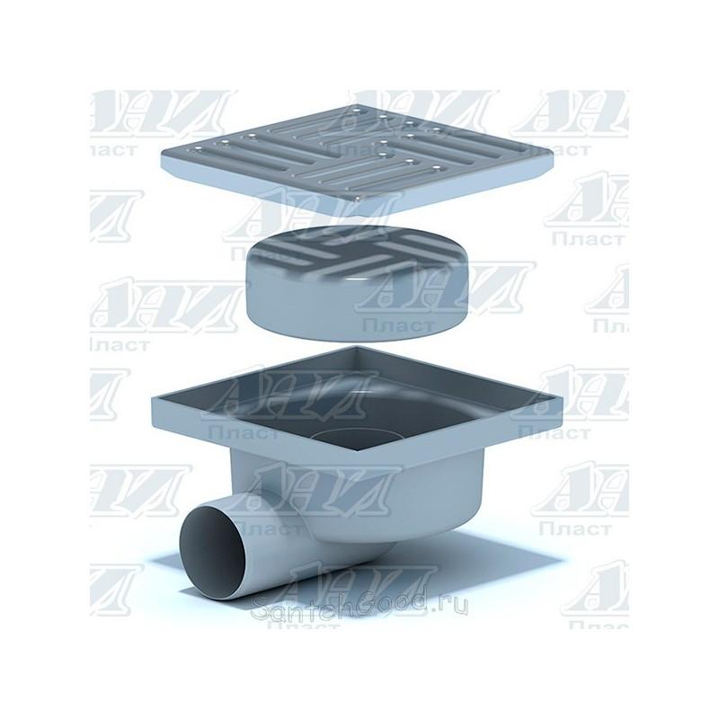 Трап горизонтальный нерегулируемый, с выпуском 50 мм, решетка из нержавеющей стали (сухой) TQ5112