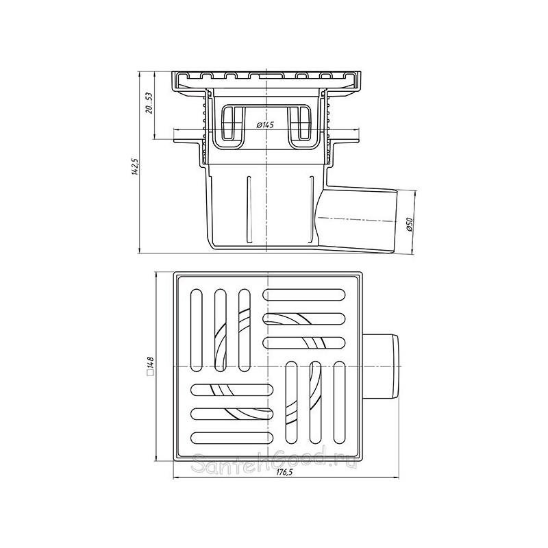 Трап горизонтальный регулируемый, с выпуском 50 мм, металлическая решетка 15x15 см (сухой) TQ5612-1