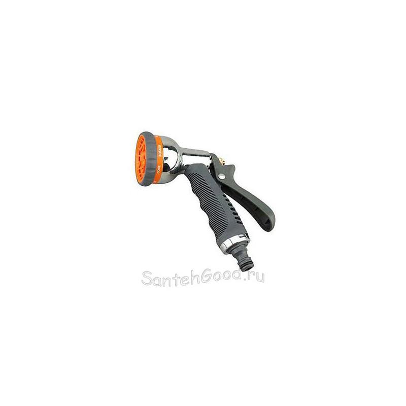 Пистолет разбрызгиватель поливочный металлический мягкая ручка (8 режимов)