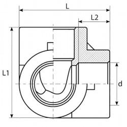 Тройник двухплоскостной из полипропилена PP-R 25 TEBO 015040802 - 01