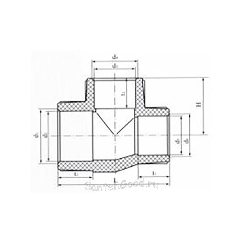 Тройник редукционный полипропиленовый 50х25х50 Pro Aqua PA14550P - 01