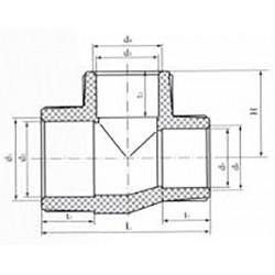 Тройник переходной полипропиленовый 75х50х75 Pro Aqua PA14573P - 01