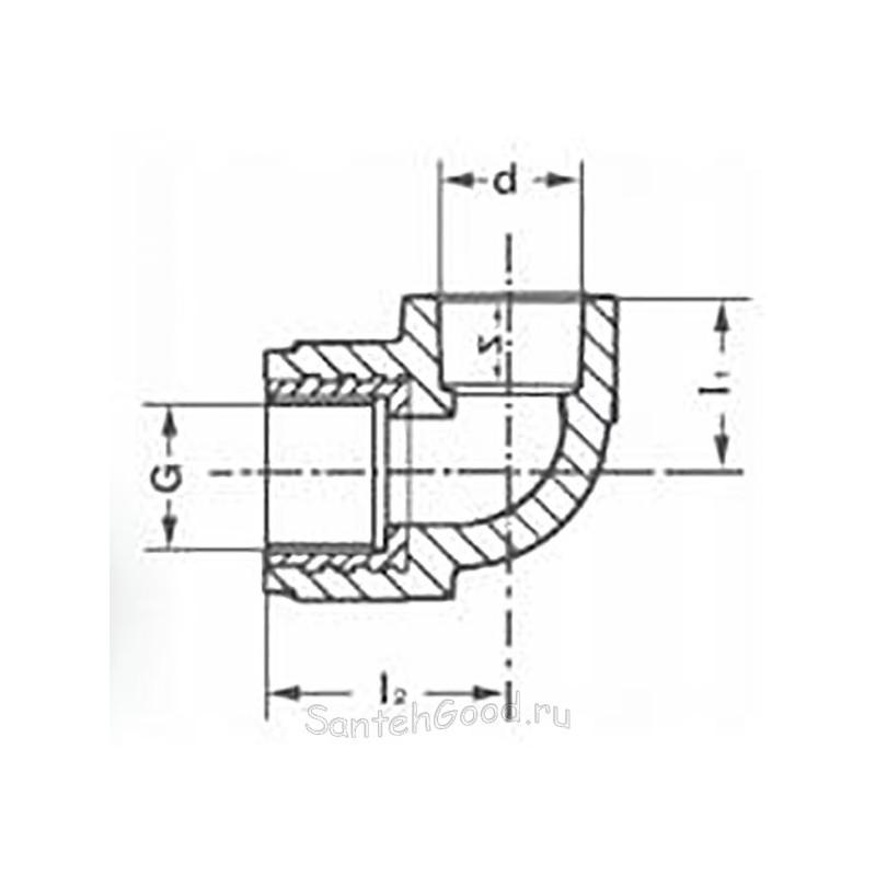 Уголок полипропиленовый комбинированный внутренняя резьба 20 х 1/2″ Pro Aqua PA26008P - 01