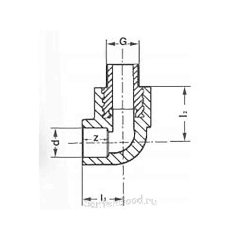 Угол полипропилен комбинированный наружная резьба 32 х 3/4″ Pro Aqua PA27016P - 01