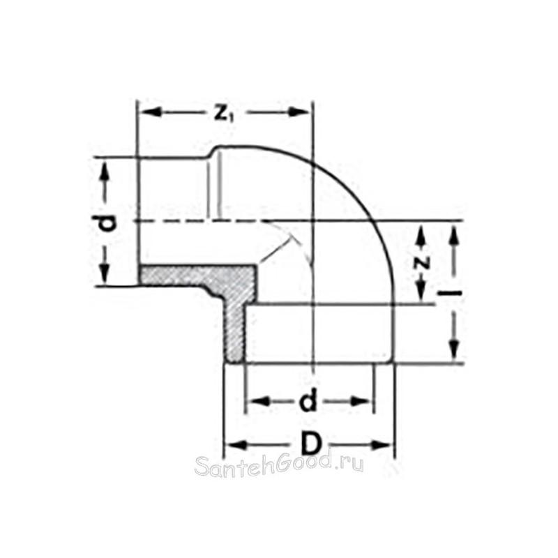 Уголок переходной полипропиленовый внутренний / наружный 20 х 90° Pro Aqua PA13608P - 01