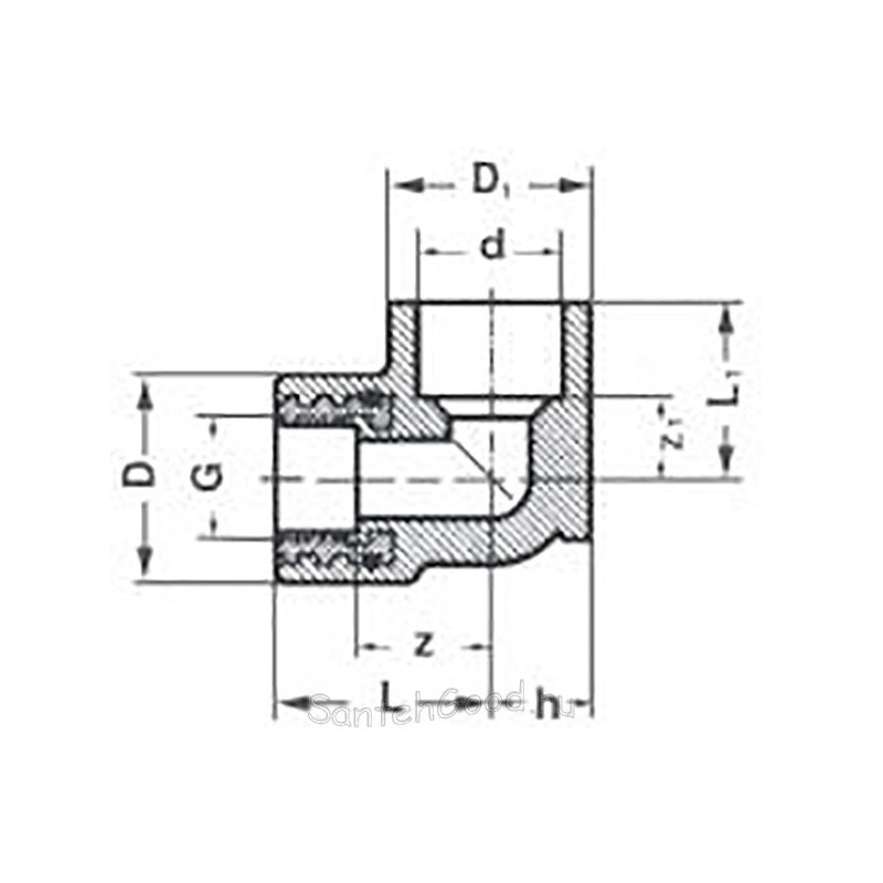 Уголок полипропиленовый с креплением внутренняя резьба 20 х 1/2″ Pro Aqua PA28008P - 01