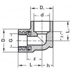 Угол комбинированный полипропилен PPR с креплением внутренняя резьба 25 х 1/2″ Pro Aqua PA28012P - 01