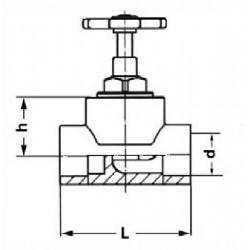 Кран вентильный полипропиленовый Pro Aqua d-32 мм PA42013 - 01