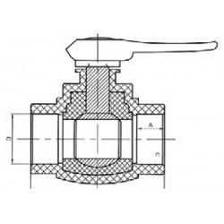 Шаровой кран со стандартным проходом PP-R полипропилен d-25 мм Pro Aqua PA44010 - 01