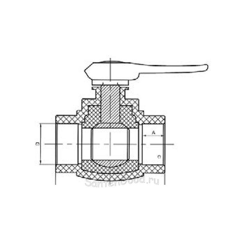 Кран шаровой со стандартным проходом PP-R полипропиленовый d- 32 мм Pro Aqua PA44012 - 01