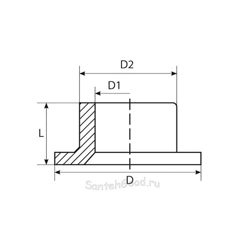 Бурт PP-R полипропиленовый под фланец 110 мм TEBO 015090707 - 01