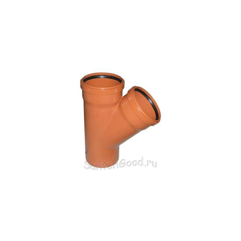 Тройник канализационный ПВХ наружный d-110х110 45°