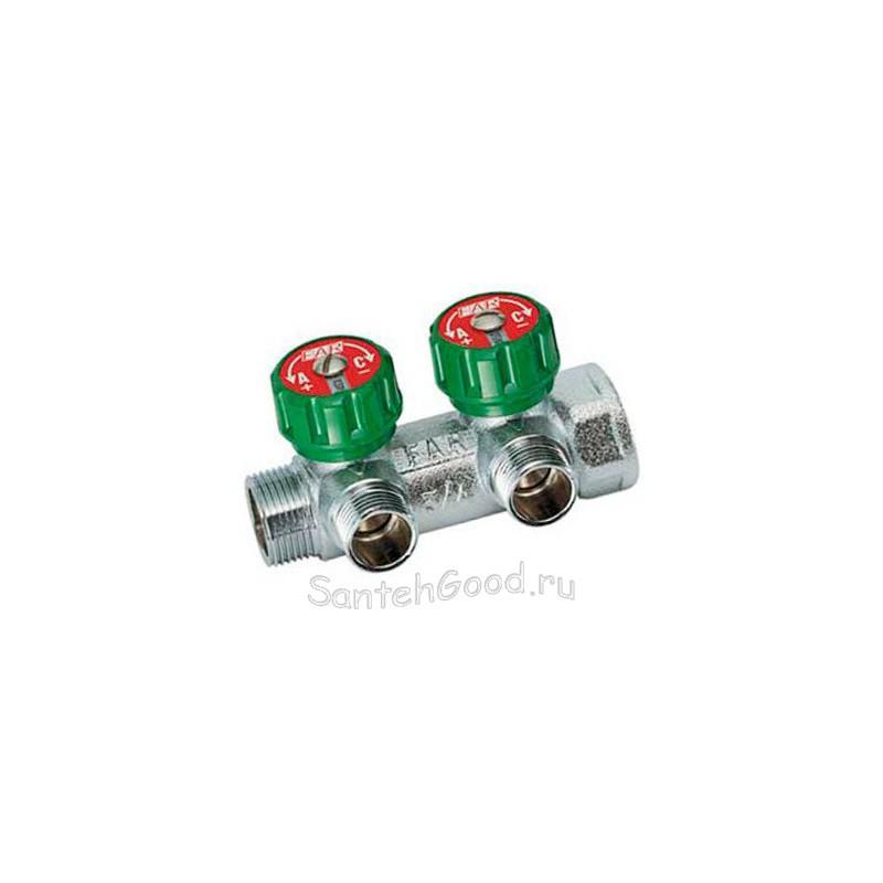 Регулирующий коллектор для воды 3/4″ ВР-НР на 2 отвода 1/2″ НР FAR