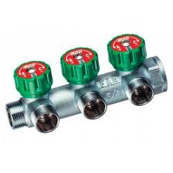 Регулирующий коллектор водяной проходной 3/4″ ВР-НР на 3 отвода 1/2″ НР FAR