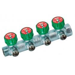 Коллектор  для отопления проходной 3/4″ ВР-НР на 4 отвода 1/2″ НР FAR