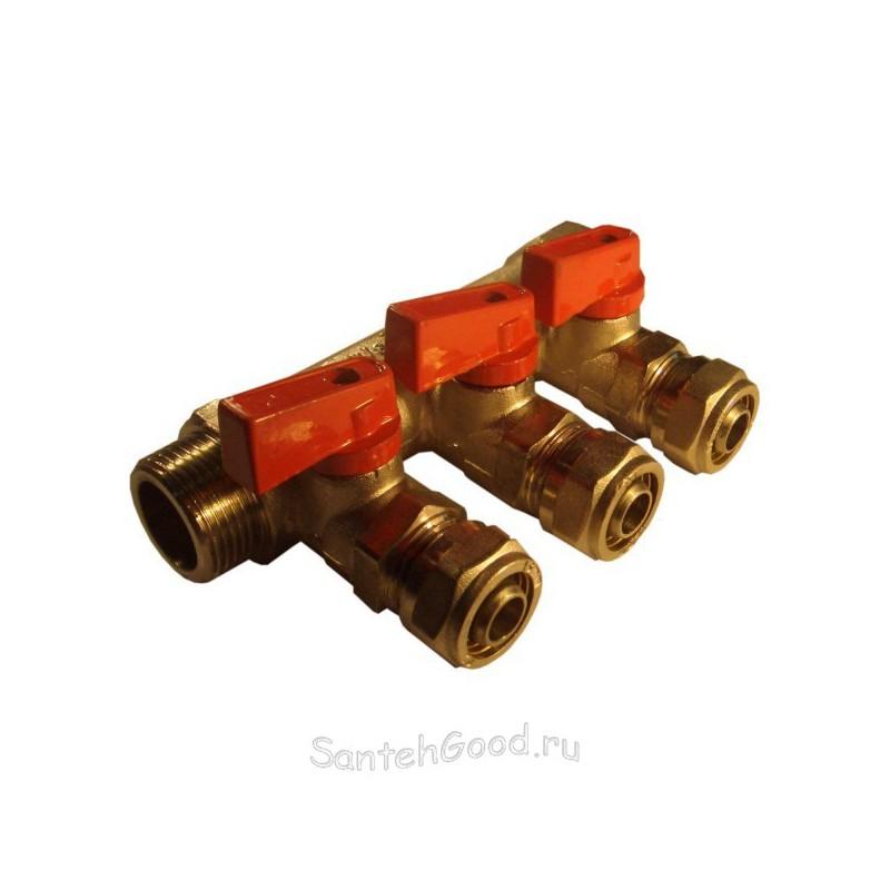 Коллектор водяной 1″ х 20 х 3 выхода с кранами (красный) TIM