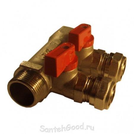 Коллектор для воды 3/4″ х 16 х 2 выхода (красный) TIM