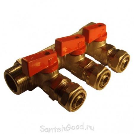 Коллектор водяной 3/4″ х 16 х 3 выхода с кранами и цангами (красный) TIM