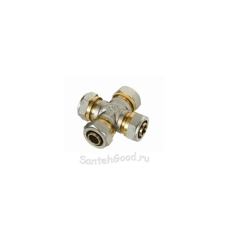 Крестовина для соединения металлопластиковых труб 20х20х20х20