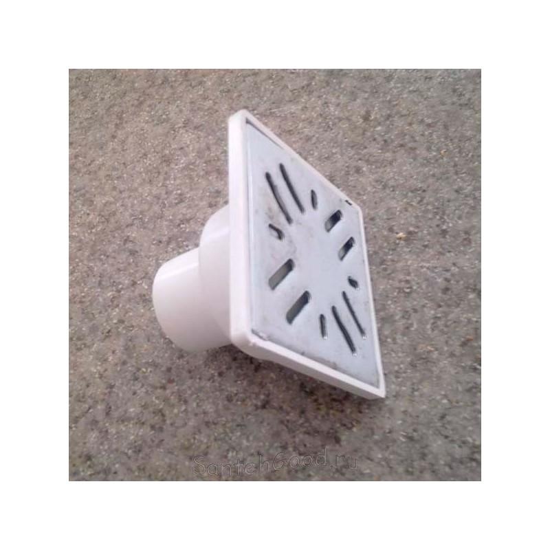 Трап канализационный пластиковый прямой d-50 (15х15 решетка)